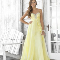 Yellow Chiffon Rhinestone Strapless Sweetheart Prom Dress - Unique Vintage - Homecoming Dresses, Pinup & Prom Dresses.