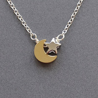 Moon &amp; Star necklace, moon star jewelry, moon necklace, star necklace, I love you to the moon and back
