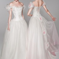 Organza Off-the-Shoulder Ball Gown Elegant Wedding Dresses - Basadress.com