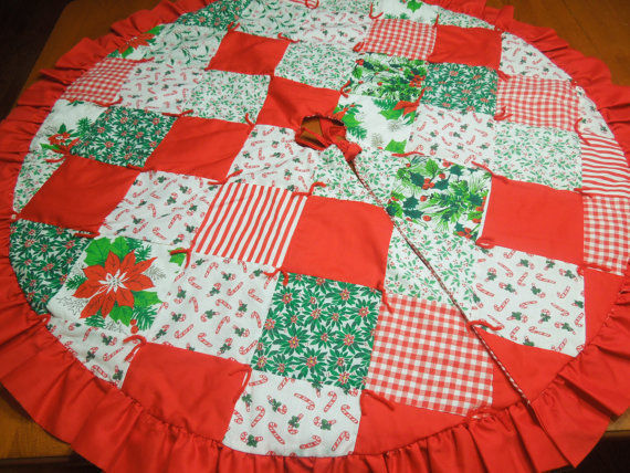 Homemade christmas patchwork quilted tree skirt for holiday christmas