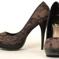 Lingerie Lace Beige Black Pumps Women's Shoes