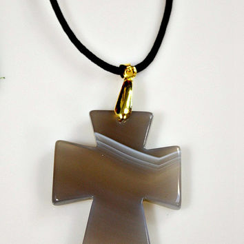 Agate Cross Pendant Necklace - Gray Carved Onyx Agate Stone - Double Sided /  Suede Cord - Statement Necklace - Unique Easter Gift -