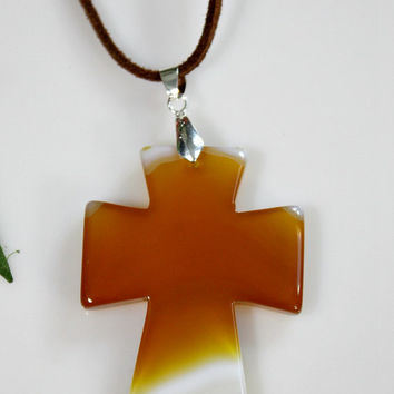 Agate Cross Pendant Necklace - Orange / Yellow / White Carved Onyx Agate Stone /  Suede Cord - Statement Necklace - Unique Easter Gift