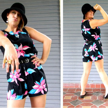 Vintage 80s Shorts Romper - High Waisted Shorts HAWAIIAN Jumper Suit in Black, Hot Pink, White, and Turquoise w Belt - Size 3 4 Small S