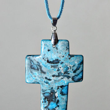 Agate Cross Pendant Necklace - Blue Crazy Lace Agate Stone / Suede Cord - Statement Necklace - Unique Easter Gift -