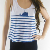 Whale Fish Sea Ocean Animal Style Art Fashion Whale  Women Crop Top Tank White T-shirt Screen Print Size S