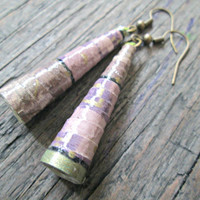 Paper Bead Earrings - Eco-Friendly Jewelry - Paper Bead Jewelry - Mauve Earrings - First Wedding Anniversary Gift - Long Earrings - Unique