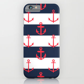 Red White and Blue Anchor Pattern iPhone & iPod Case by Pati Designs
