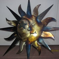 Aztec Sun / Moon, metal art, 2 piece, clear finish powder coat with custom heat application