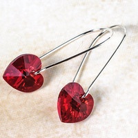 Swarovski Heart Earrings Red Heart Earrings Swarovski Crystal Romantic Jewelry