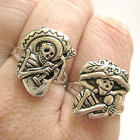 Mexican Sugar Skull Jewelry - Silver Two Finger Rings Day of the Dead