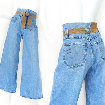 Vintage 80s 90s High Waisted Bell Bottom Women's Jeans - Size 5 - Chic Wide Legged High Rise Light Blue Denim Dungarees