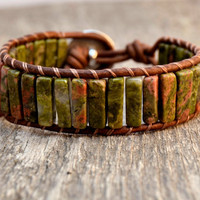 Earthy cuff bracelet. Comfortable bohemian bracelet. Square tube unakite bead cuff