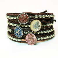 "Leather wrap bracelet, gypsy cowgirl, ""Skinnies"" Bohemian jewelry, silver stack bracelet, antique button, country boho chic"