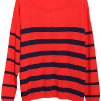 ROMWE | Loose Contrast Color Stripes Orange Jumper, The Latest Street Fashion