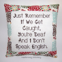 Funny Cross Stitch Pillow, Red Brown and Blue Pillow, Decorative Pillow, BFF Quote