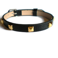 Gold Studded Leather Bracelet - 5mm.. on Luulla