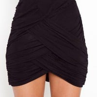 Ruched Drape Skirt - Black - NASTY GAL