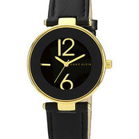 Anne Klein Watch, Women&#x27;s Black Leather Strap 34mm AK-1064BKBK - All Watches - Jewelry &amp; Watches - Macy&#x27;s