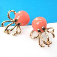 Large Octopus Squid Sea Animal Stud Animals in Orange