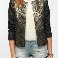 Sparkle & Fade Faux Leather-Sleeve Baroque Jacket