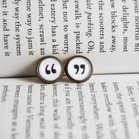 Quote Me On It - Quotation Mark Antiqued Brass Post Earrings
