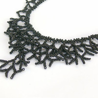 Black Necklace - Beaded Handmade Jewelry