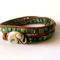 Good Luck Elephant Leather Wrap Bracelet, African Turquoise and Malachite Double Wrap, Chan Luu Style