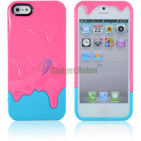 New Hot 3D Melt Ice Cream Hard Case Cover For. iPhone 5 5G 5th Gen Pink Blue GR