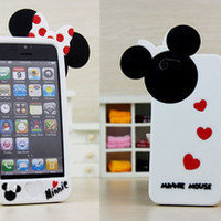 New 3D white Disney Minnie Mickey Mouse Bow Silicone Case Cover for iPhone 5/5G