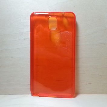 For Samsung Galaxy Note 3 Red Transparent TPU Soft Silicone Case