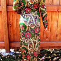 long ornate paisley dress. size S to M. Halloween costume