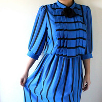 80's Royal Blue Striped Sheer Dress Sz M/L  Sexy by bumbleebuck