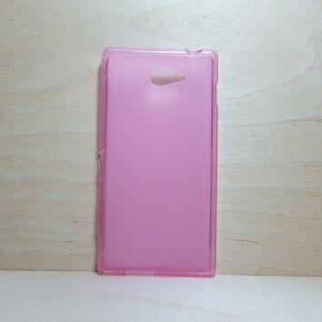 For Sony Xperia M2 Soft TPU translucent Color Case Protective Silicone Back Case Cover - Pink