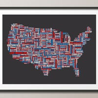 United States Typography Text Map, Art Print 18x24 inch (936)