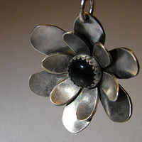 Flower Pendant Handmade from Sterling Silver with Black Onyx