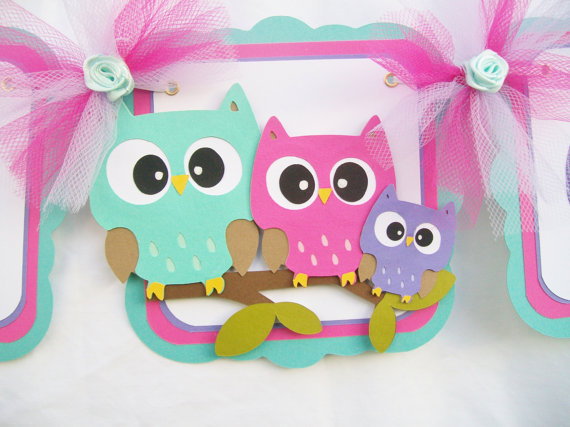 owl baby shower banner teal fushia from nancysbannerboutique