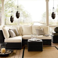 Palmetto All-Weather Wicker Sectional Set - Black