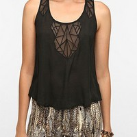 Ecote Embroidered Mesh Inset Tank Top