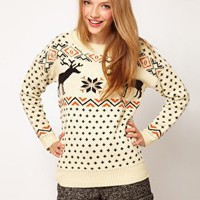 ASOS Reindeer Fairisle Jumper at asos.com