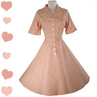 Dress Vintage 50s PINK Full Skirt ROCKABILLY Pinup Swing Dress L Lucy Shirtwaist Party