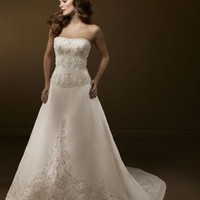 Graceful A Line Strapless Court Train Satin Sleeveless Wedding Dress-$379.99-ReliableTrustStore.com