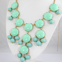 NEW Mint Green Bubble Necklace,Bubble Bib Necklace,Mint Green Statement Bubble Necklace,Mint Green Necklace-BN0241