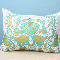 Ogee Lotus Flower Cover Decorative Cushion Throw 12x16 Lumbar Modern Design Turquoise Gold Hand-Printed Screen Print Pillow Art