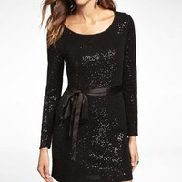 LONG SLEEVE SEQUIN EMBELLISHED DRESS at Express