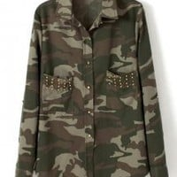 Fashion Rivet Camouflage Shirt - Designer Shoes|Bqueenshoes.com
