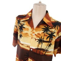 Vintage 70s Hawaiian Shirt Dessert Sunset Rust Orange Black Large XL