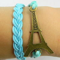 Bracelet - Antique Bronze Eiffel Tower bracelet blue wax rope braided  Leather Bracelet