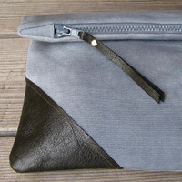 canvas and leather clutch, hand-dyed, fold-over clutch
