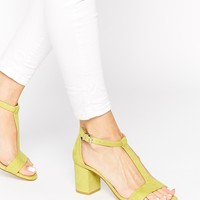 Faith Dibs Lime Barely There Mid Heeled Sandals
